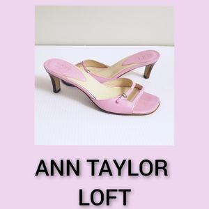Ann Taylor Loft Pink Mules Open Toe Size 6M